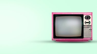 Old red television or vintage tv on green background
