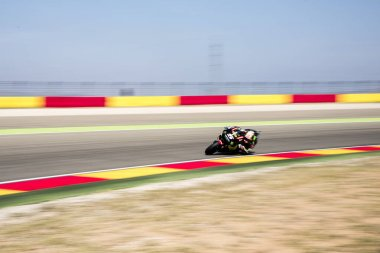 23rd September 2017, MotorLand Aragon, Alcaniz, Spain; MotoGP of Aragon, Saturday qualifying; Johann Zarco of the Monster Yamaha Tech 3 Motogp Team rounds the bend during the free practice 4 stock vector