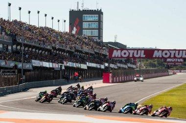 November12nd 2017, Valencia, Spain MotoGP Race, The last race of the MotoGP calendar is underway at the Ricardo Tormo Circuit stock vector