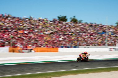 November12nd 2017, Valencia, Spain MotoGP Race, Marc Marquez of the Repsol Honda Motogp Team in action during the last race of the championship stock vector