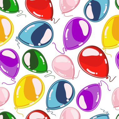 Beautiful balloons seamless pattern on a white background. Vector texture for decoration cards, banners, postcards, wallpaper and ect. for Birthday and other holidays and events.