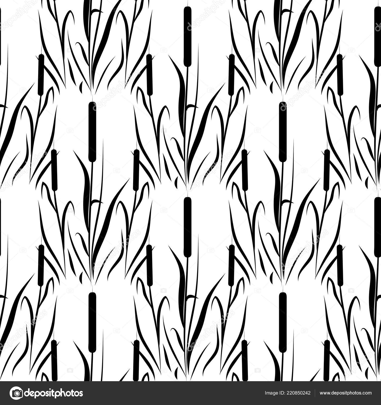 Reed Cattail Background Wallpaper Seamless Silhouette Stock