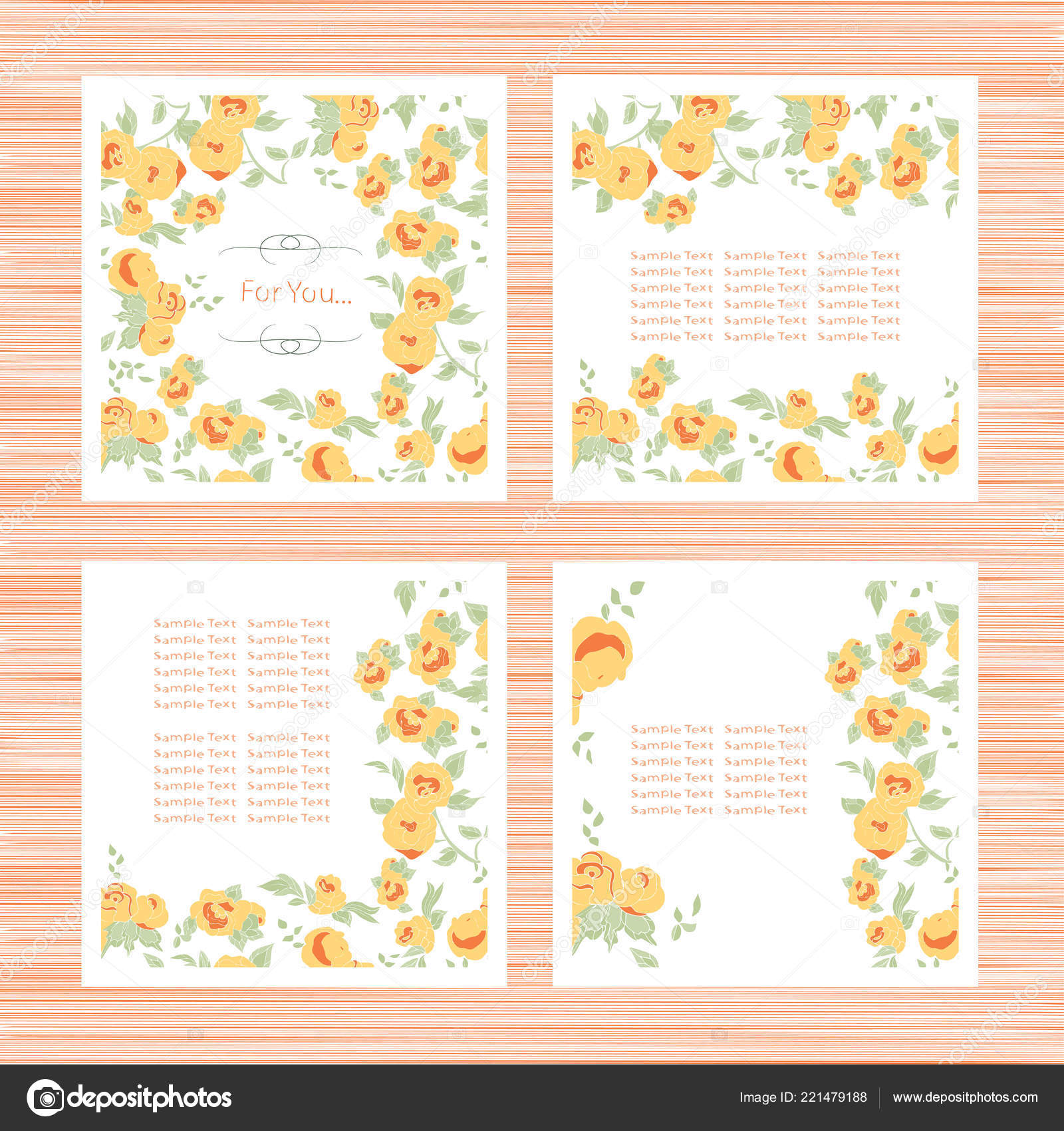 Template Yellow Roses Wedding Invitation Greeting Card