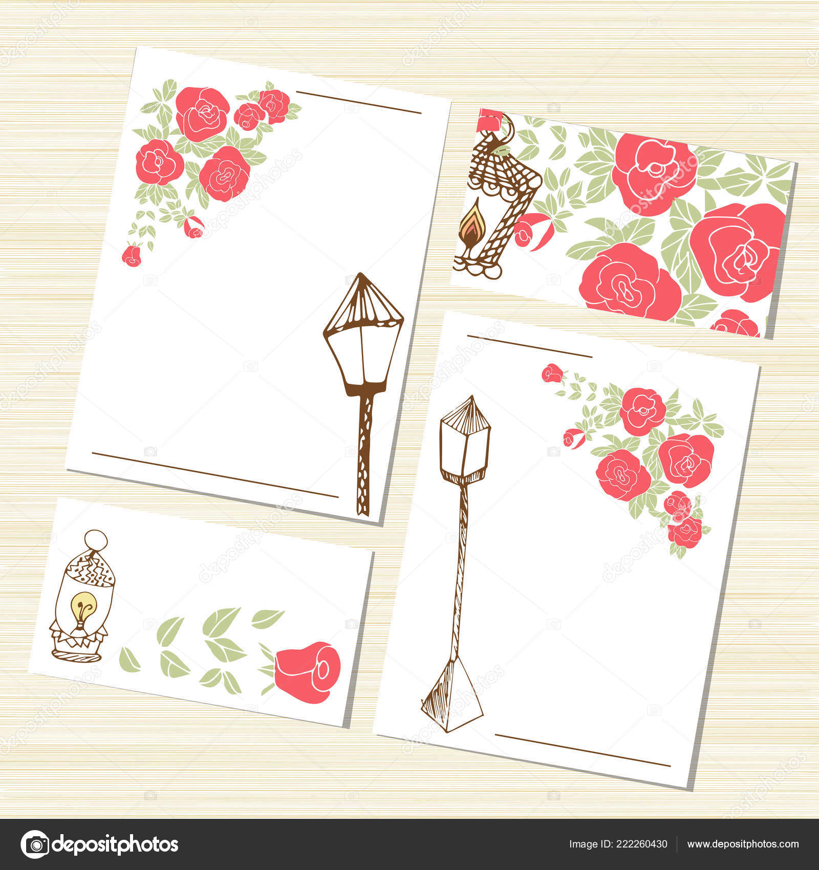 Romantic Set Template Flowers Roses And Fonar Mozhet Used As A