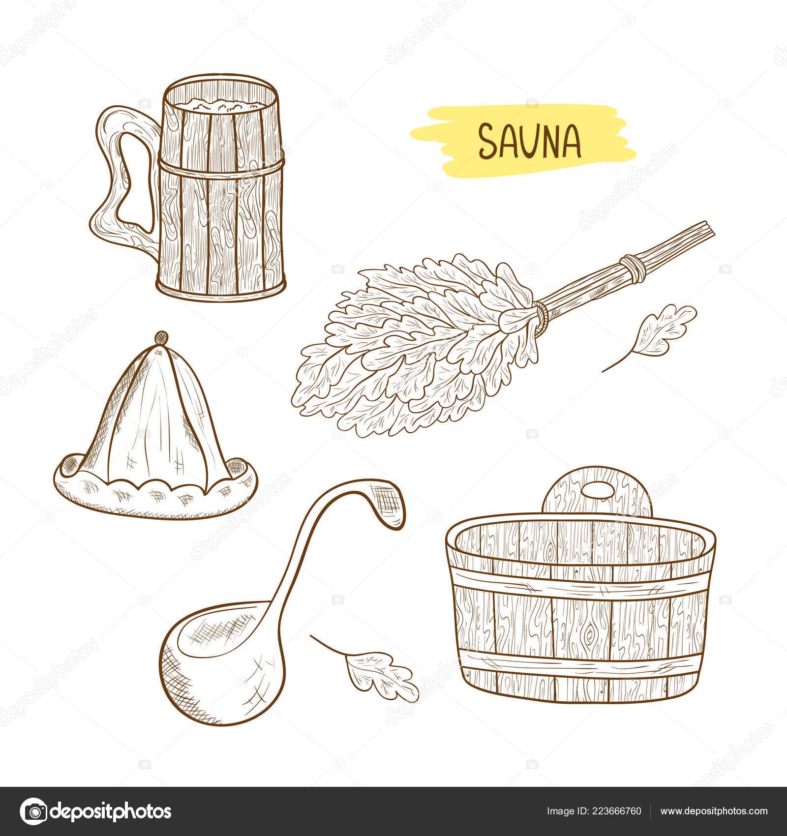 Веник рисунок для бани карандашом