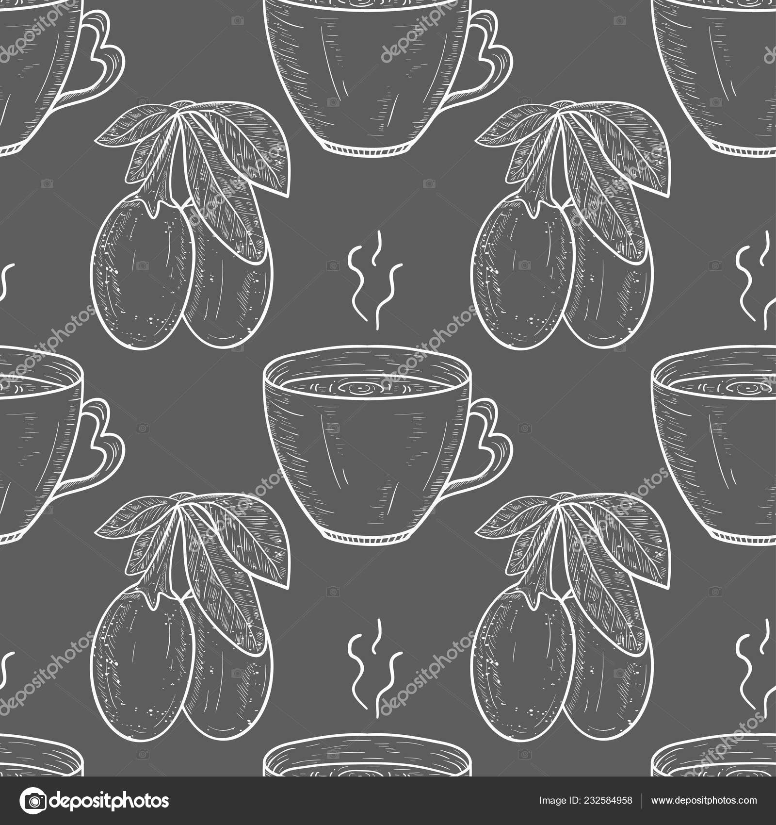 Goji Berry Leaf Tea Sketch Monophonic Background Wallpaper