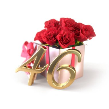 birthday concept with red roses in gift isolated on white background. forty-sixth. 46th. 3D render