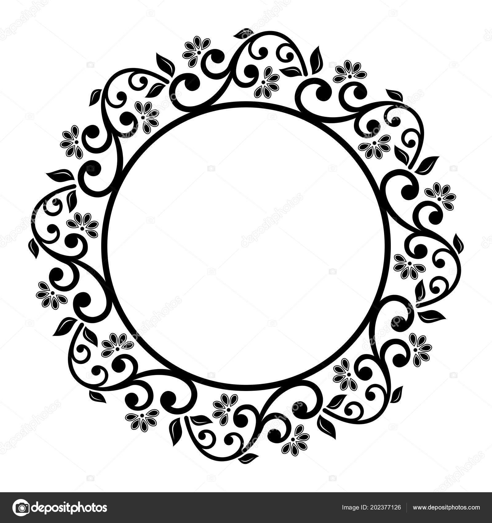 Floral Modern Vector Round Frame — Stock Vector © turr1 #202377126