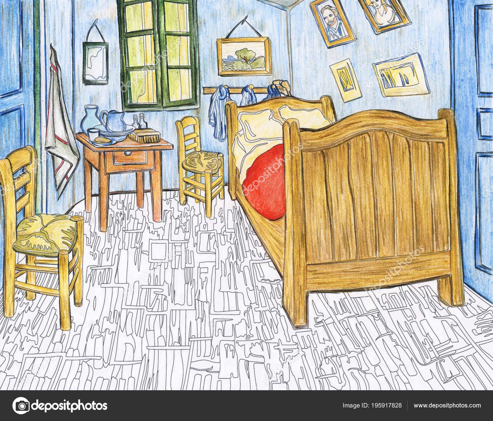 Slaapkamer Arles 1888 Door Vincent Van Gogh Volwassen Kleurplaat ...