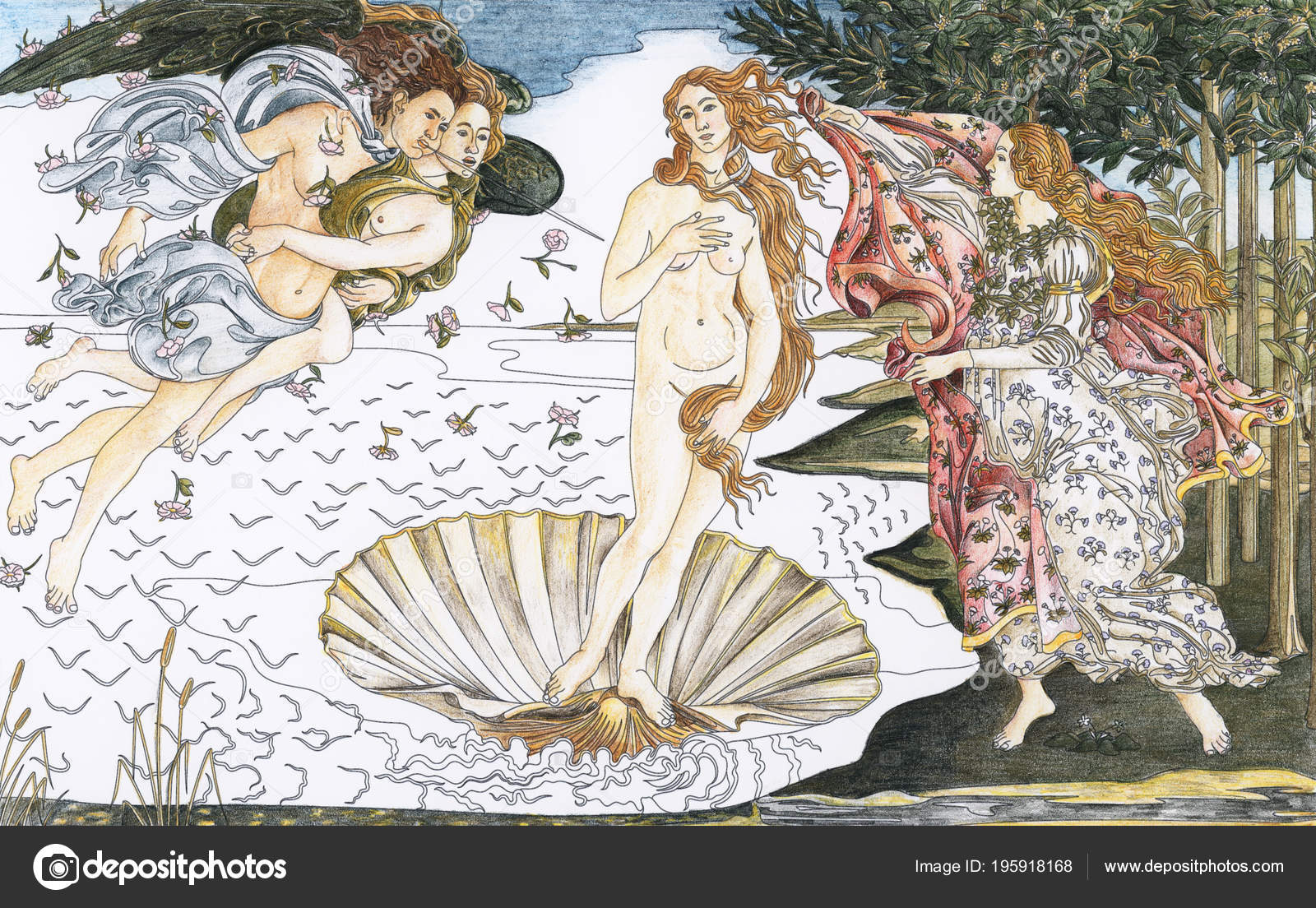 Birth Venus 1483 1485 Sandro Botticelli Adult Coloring Page — Stock Photo