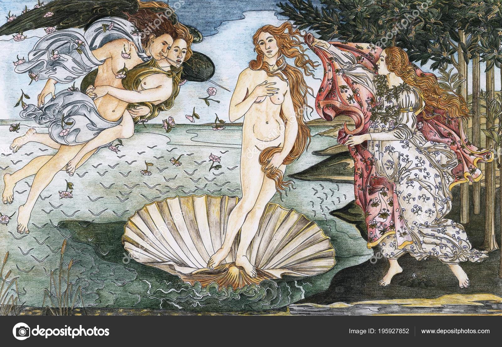 Рождение Венеры (1483 — 1485), Сандро Боттичелли взрослых окраски страницы–  Стоковое изображение