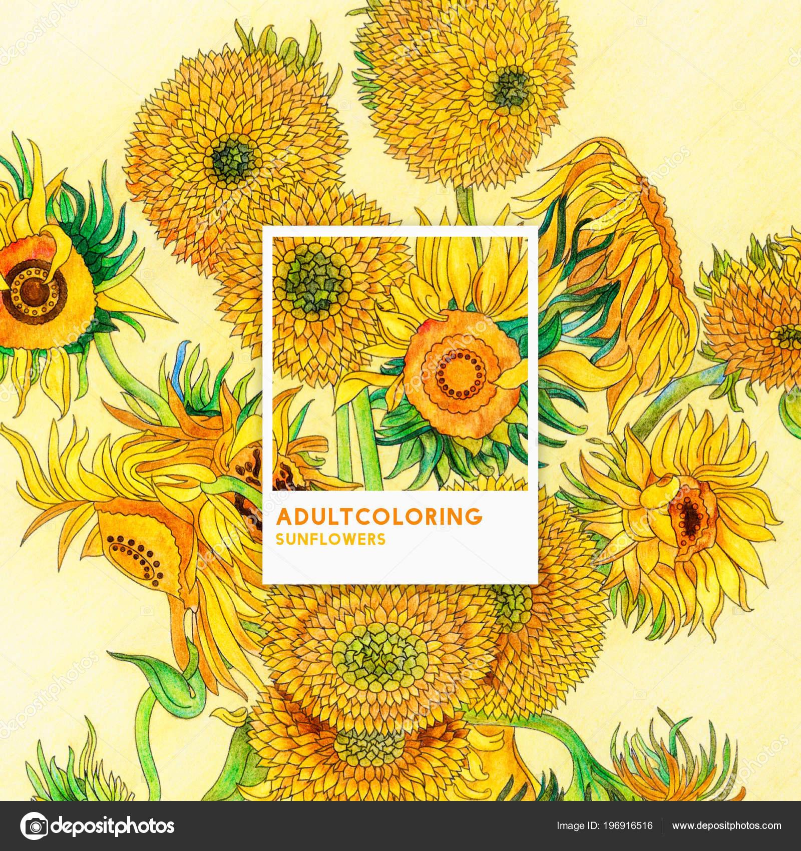 Kleurplaten Zonnebloemen.Zonnebloemen 1889 Van Vincent Van Gogh Volwassen Kleurplaat