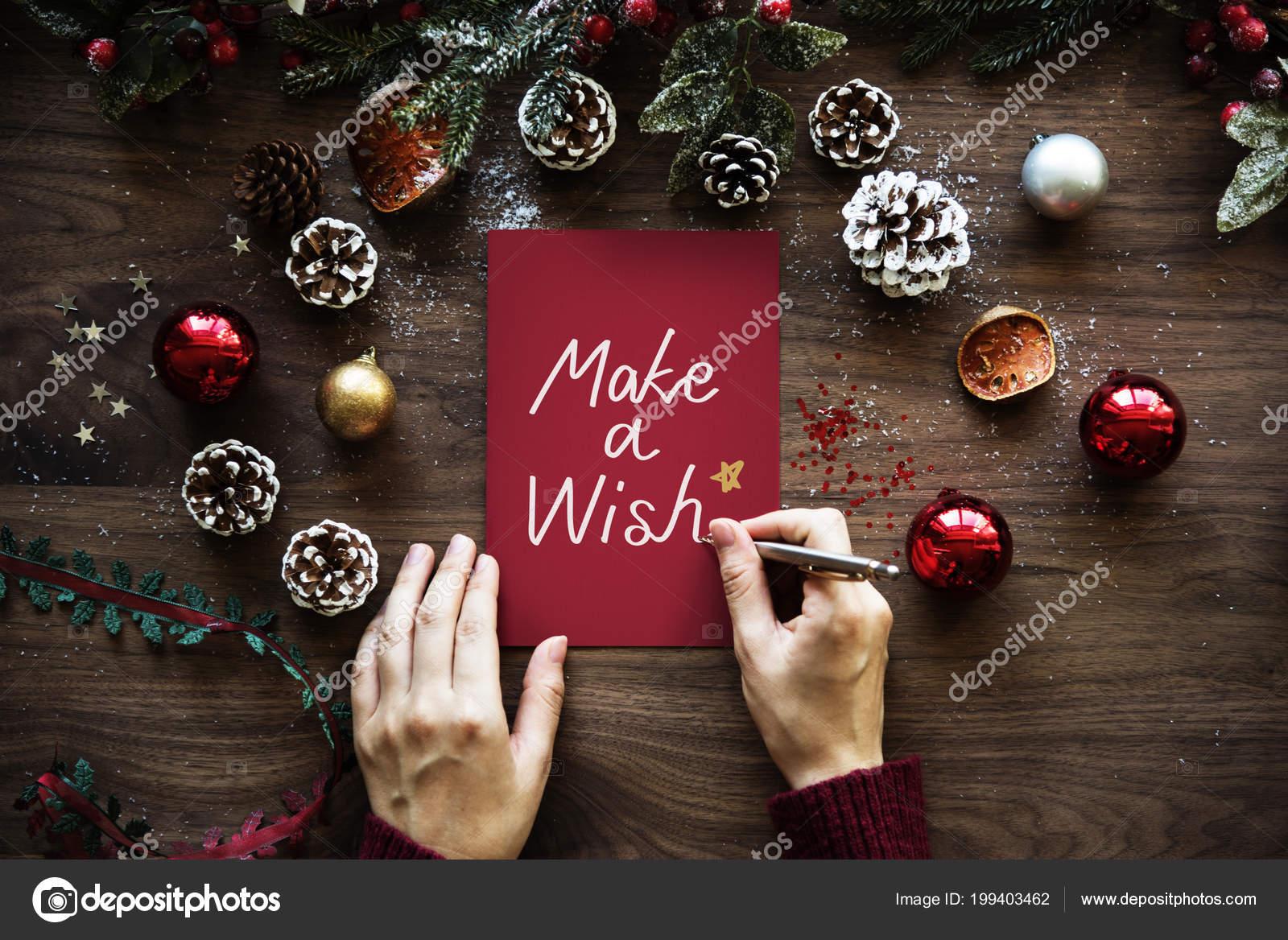 Weihnachten Wunsch.Weihnachten Unter Dem Motto Make Eine Wunsch Karte Stockfoto