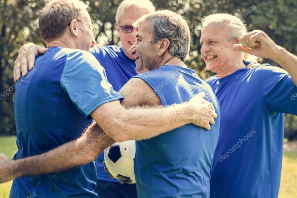 Team of mature football players