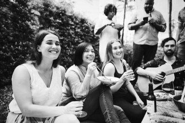 Group of friends enjoying a summer party