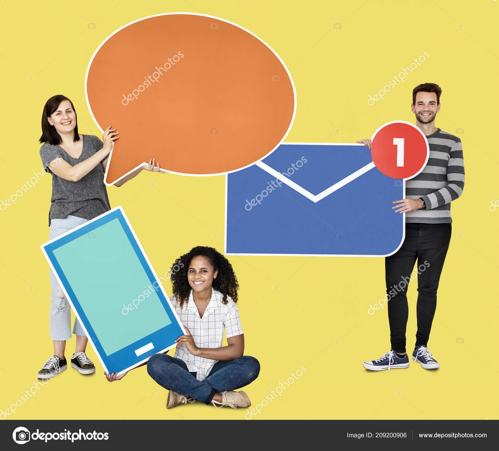 Menschen Halten Verschiedene Arten Der Kommunikation Symbole