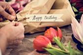 Fotografie Closeup of birthday flower bouquet