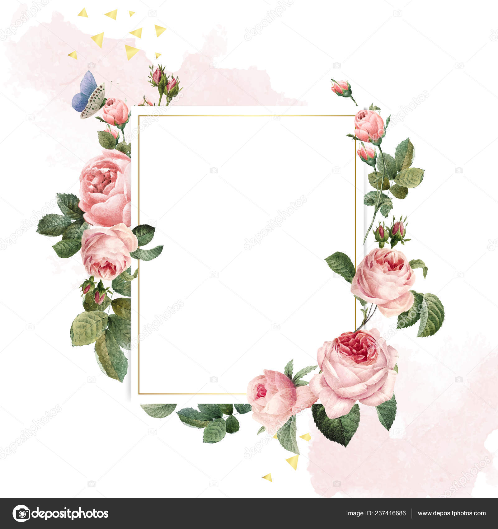 Blank Rectangle Pink Roses