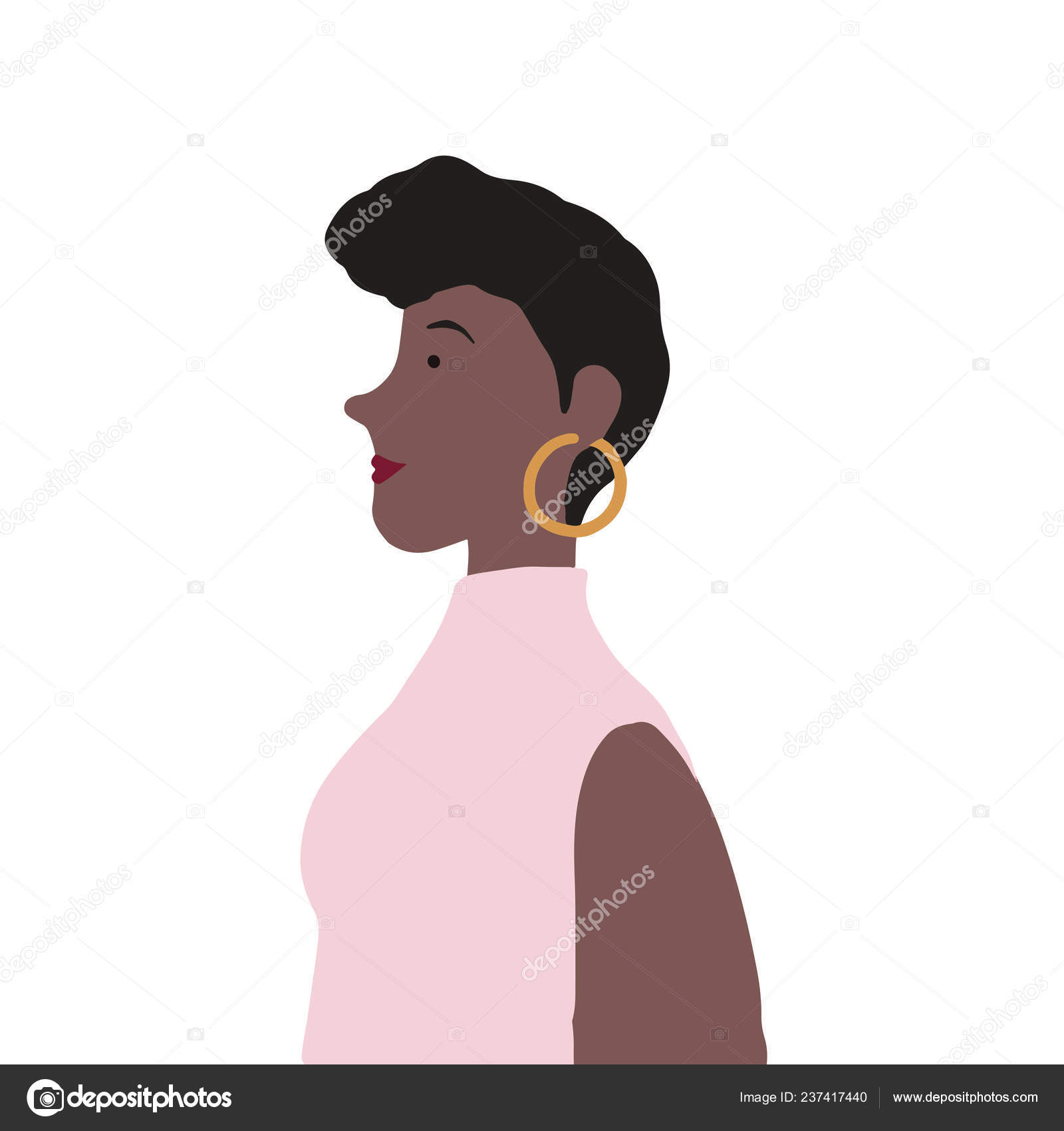 Strong African American Female Profile Vector — Stock Vector ... 8772b8ace17