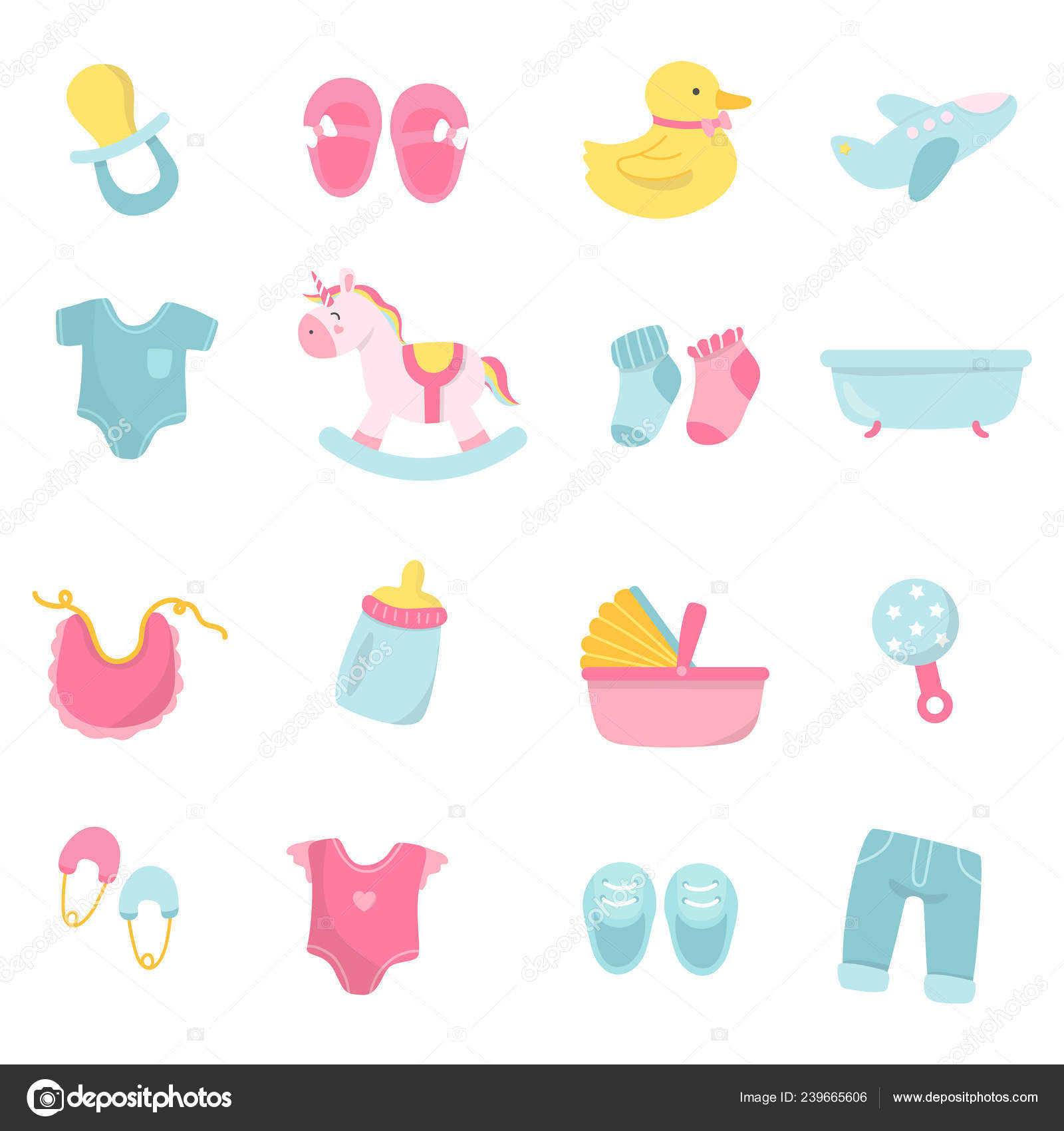 Set Cute Baby Shower Vectors Stock Vector C Rawpixel 239665606