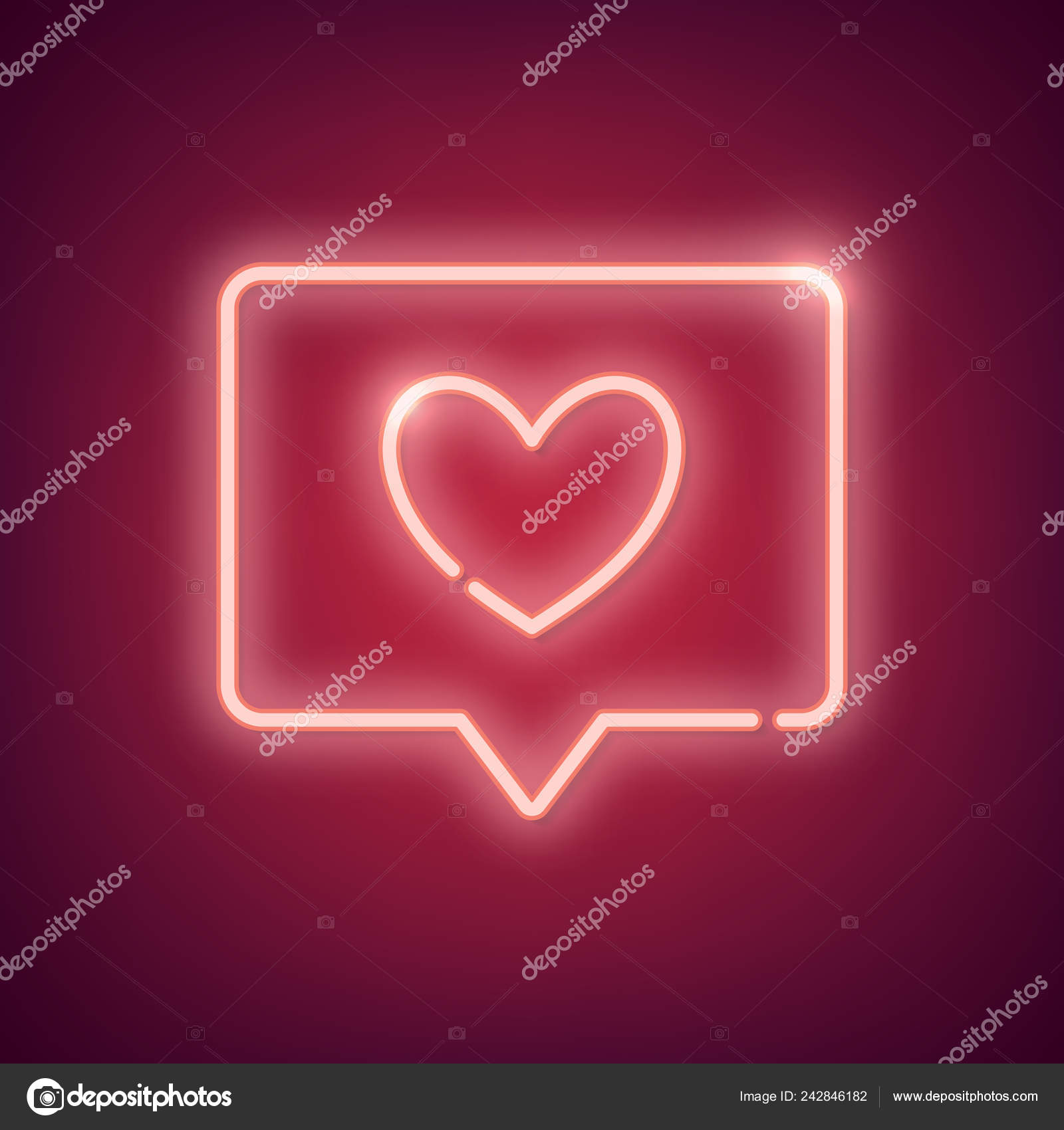 Neon Pink Light Valentine Day Symbol Background Stock Vector C Rawpixel 242846182