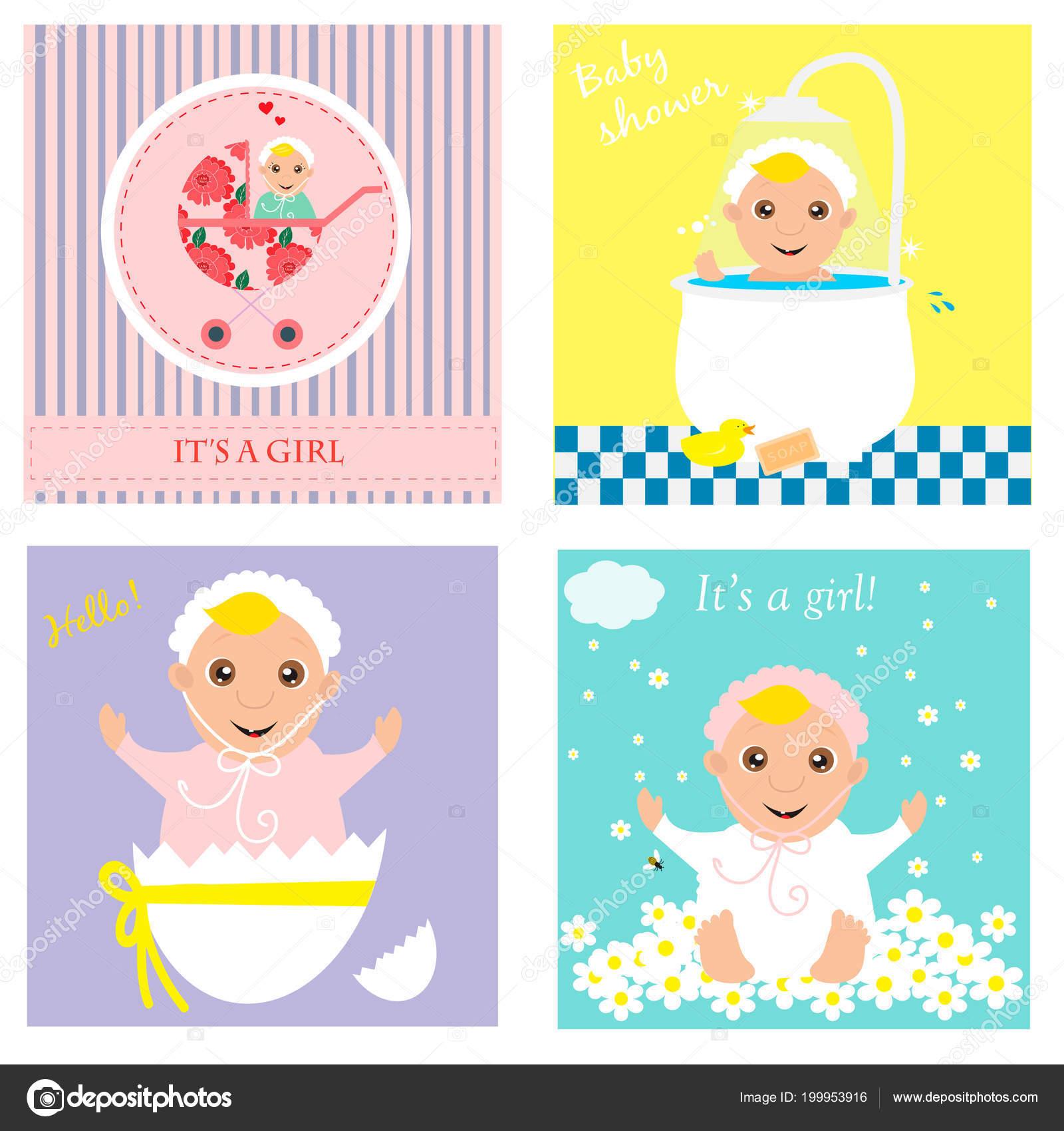 Conjunto de bebé ducha invitación, tarjetas de felicitación, cartel ...