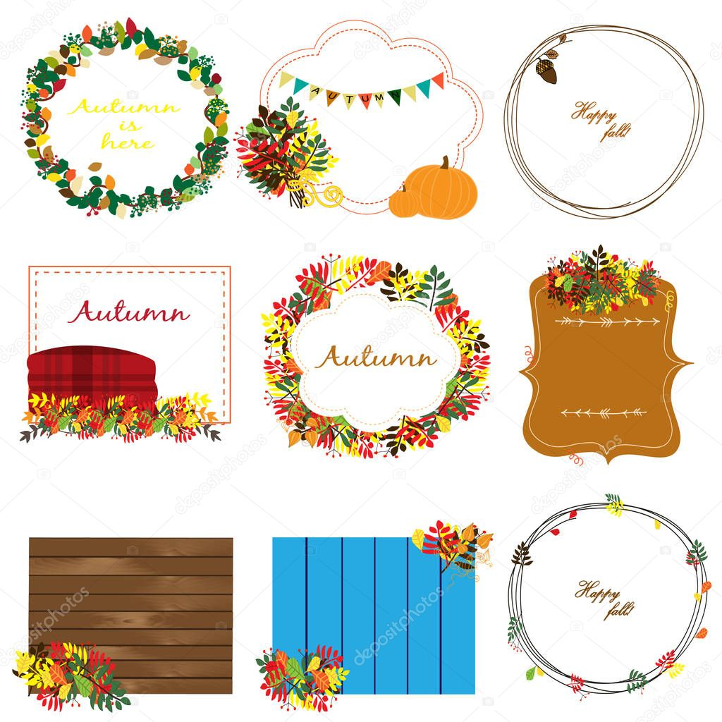 Cozy autumn collection with nine frames with leaves, pennants and other
