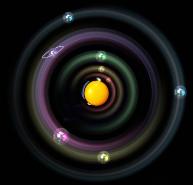 Solar system concept. Egg is symbol for sun, bubbles for planets. Planets with sun in middle. Astronomy at home. Science and educational background. Astronomy picture. Astronomy at home with children