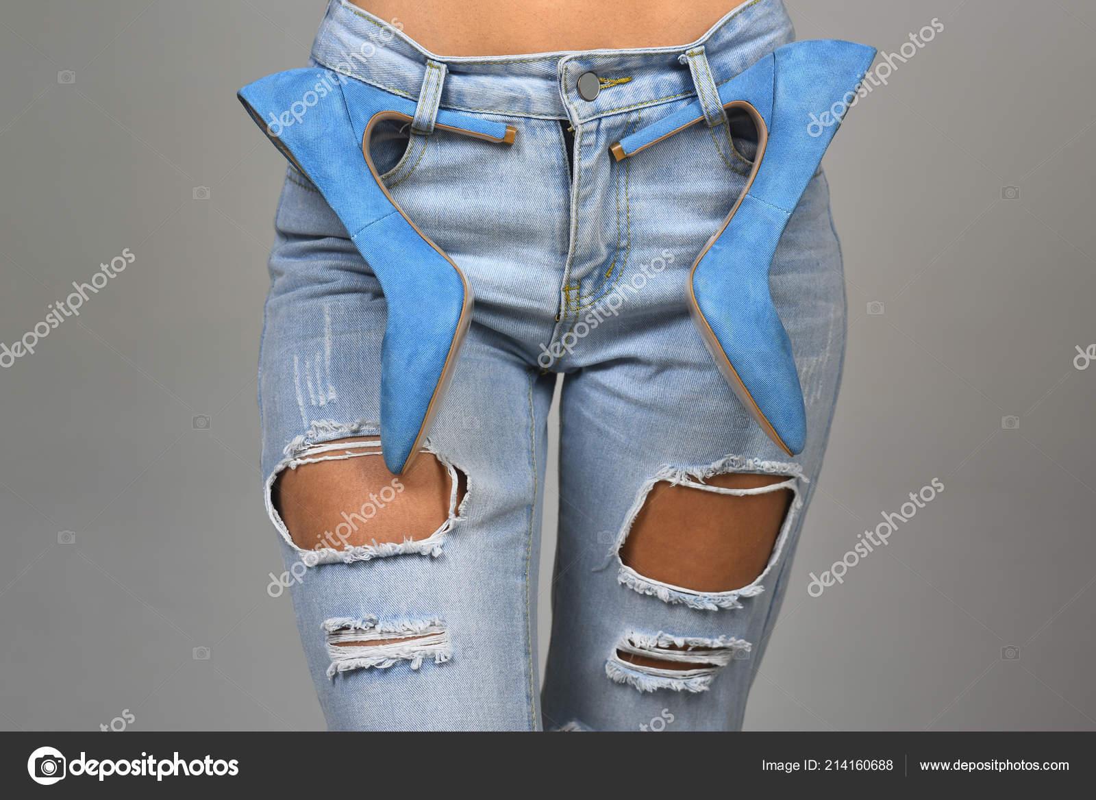 Alto Denim Ragazza Donna Concetto Moda Jeans Scarpe Tacco Rnz7870