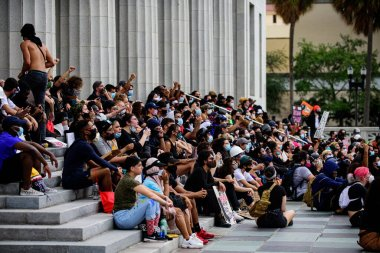 Miami Downtown, FL, USA - JUNE 12, 2020: Black Lives Matter. Demonstrators during protests against racism in USA.