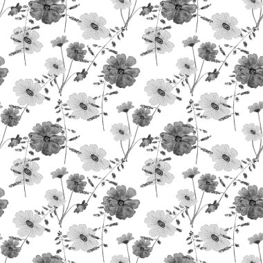 Floral seamless pattern with watercolor field flowers. Botanical natural background. Textile floral design.
