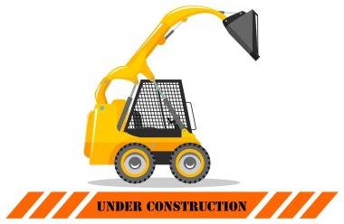 Skid steer loader. Detailed illustration of heavy construction machine and equipment. Vector illustration.