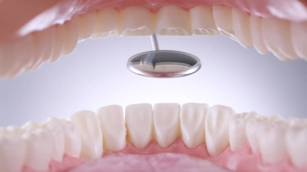 Dentist inspects teeth with mirror