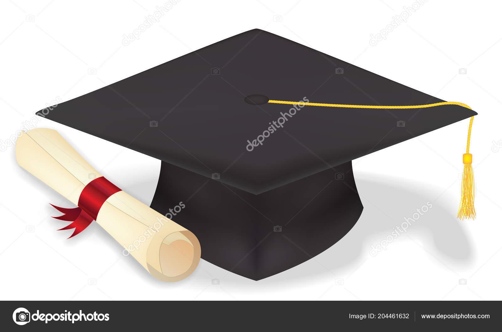 Sombrero Graduación Estudiantes Con Diploma Vecter Eps10 — Archivo Imágenes  Vectoriales cd4922d2d6e