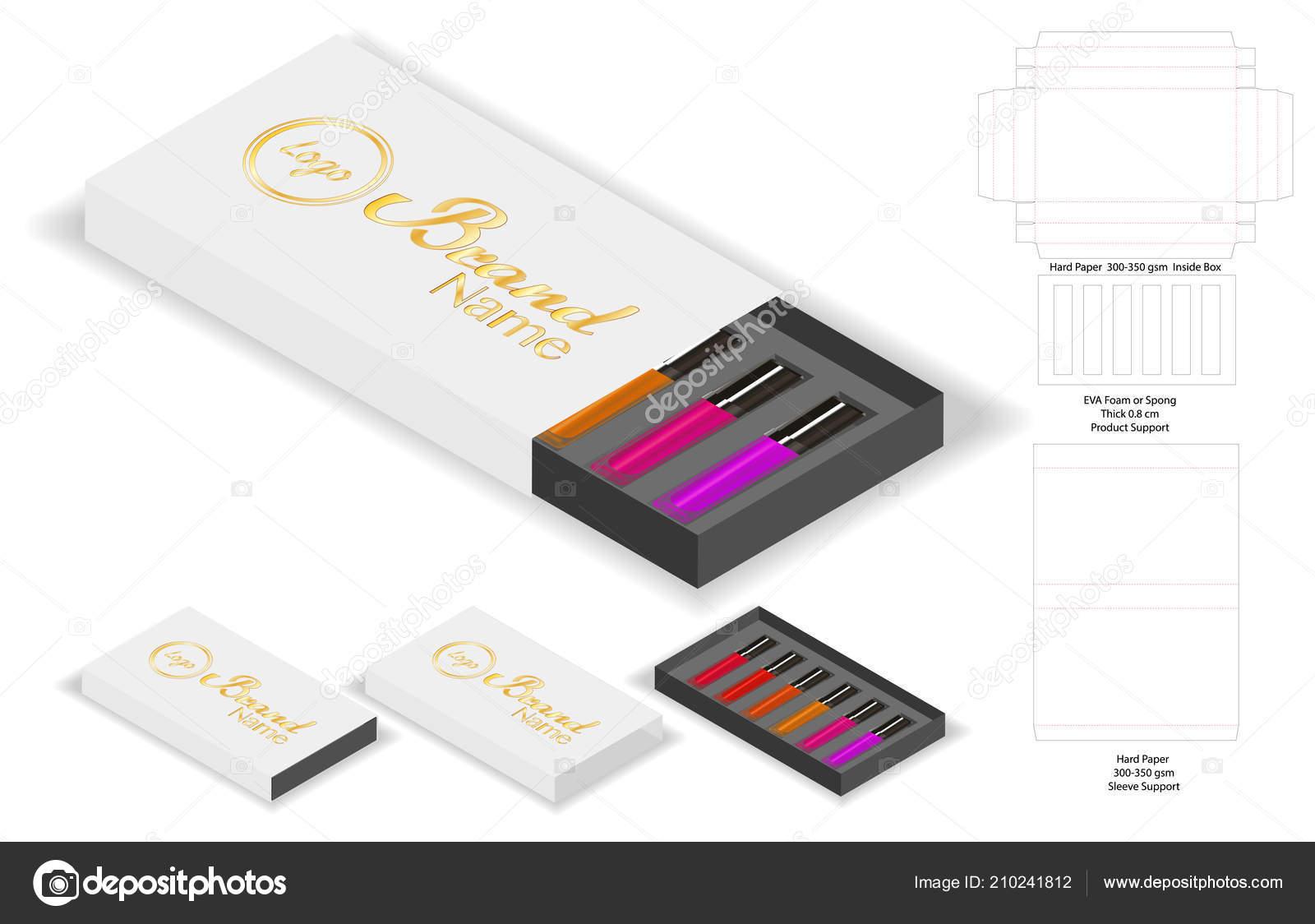 Paper Box Shape Lipsticks Package Dieline — Stock Vector