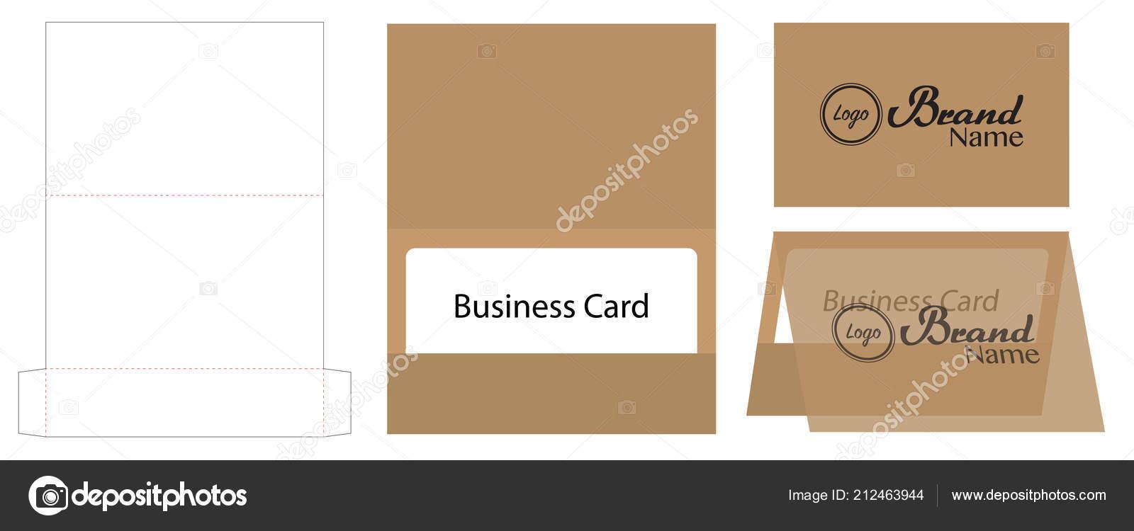 Visitenkarte Umschlag Gestanzte Vorlage Mock Stockvektor