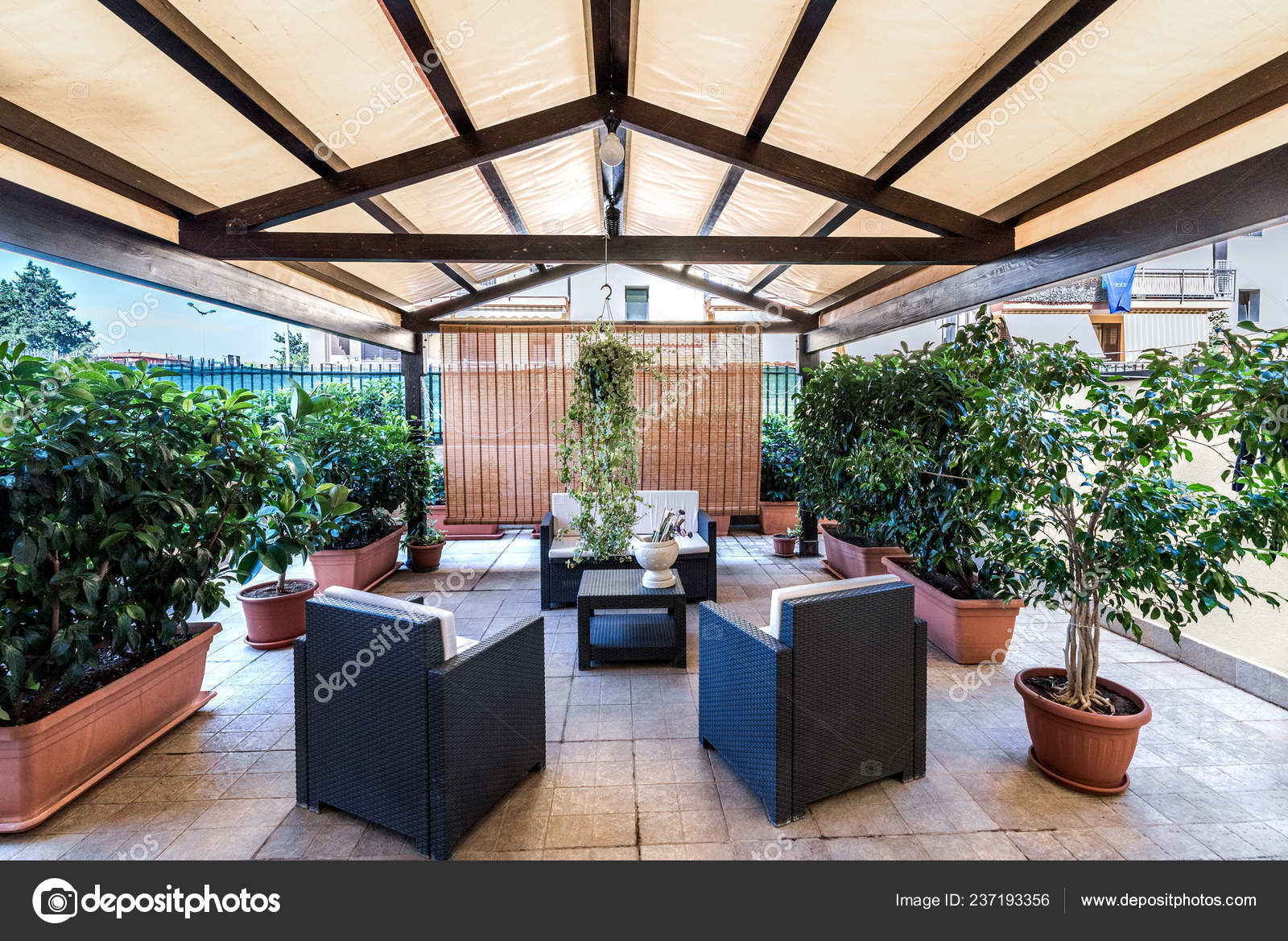 Exterior Covered Patio Furniture Plantes Image Stock Editorial Photo C Micheleponzio 237193356