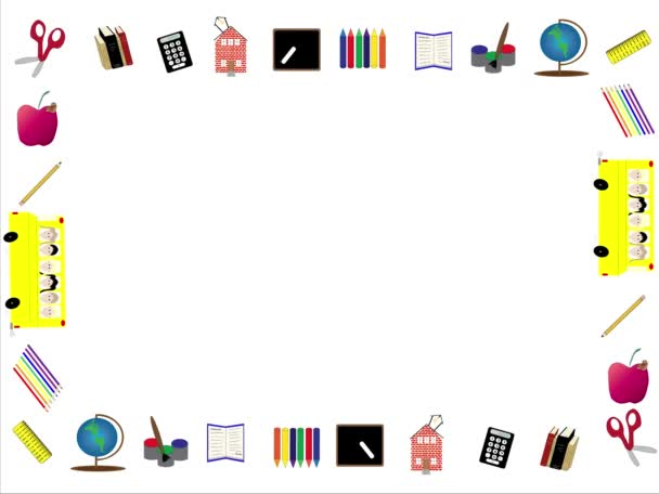 Animated border or frame of back to school icons including paints, paintbrush, globe, ruler, colored pencils, school bus with kids, pencil, books, calculator, school house, blackboard with chalk, crayons and open book looping on white.