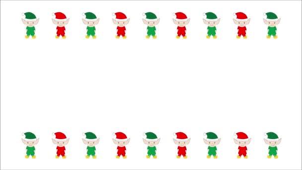 Animovaný, opakování červené a zelené ilustrované elfové hraničí s bílým pozadím s kopií prostor