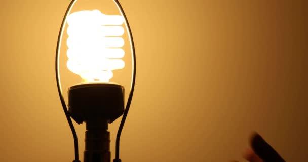 Detailní záběr z ruky, nahradí nové eco přátelské žárovka s žárovkovým starou