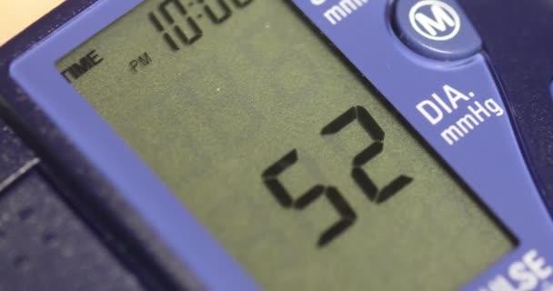 Sphygmomanometer or blood pressure cuff digital monitor display.