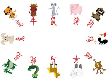 Illustrated Chinese Horoscope year icons illustrated with Chinese character and animals on white with copy space.