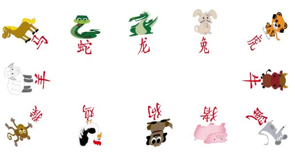 Animated illustrated Chinese Horoscope year icons illustrated with Chinese character and animals on white with copy space.