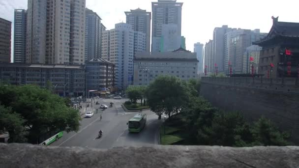 Xi'an, Shaanxi Providence, China - September 8, 2018 : Traffic on streets  along old city Xi'an, China with modern skyline