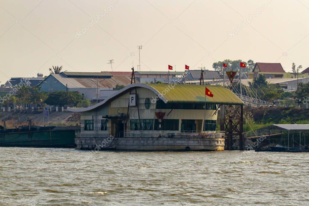 Border crossing on Mekong River in Vietnam