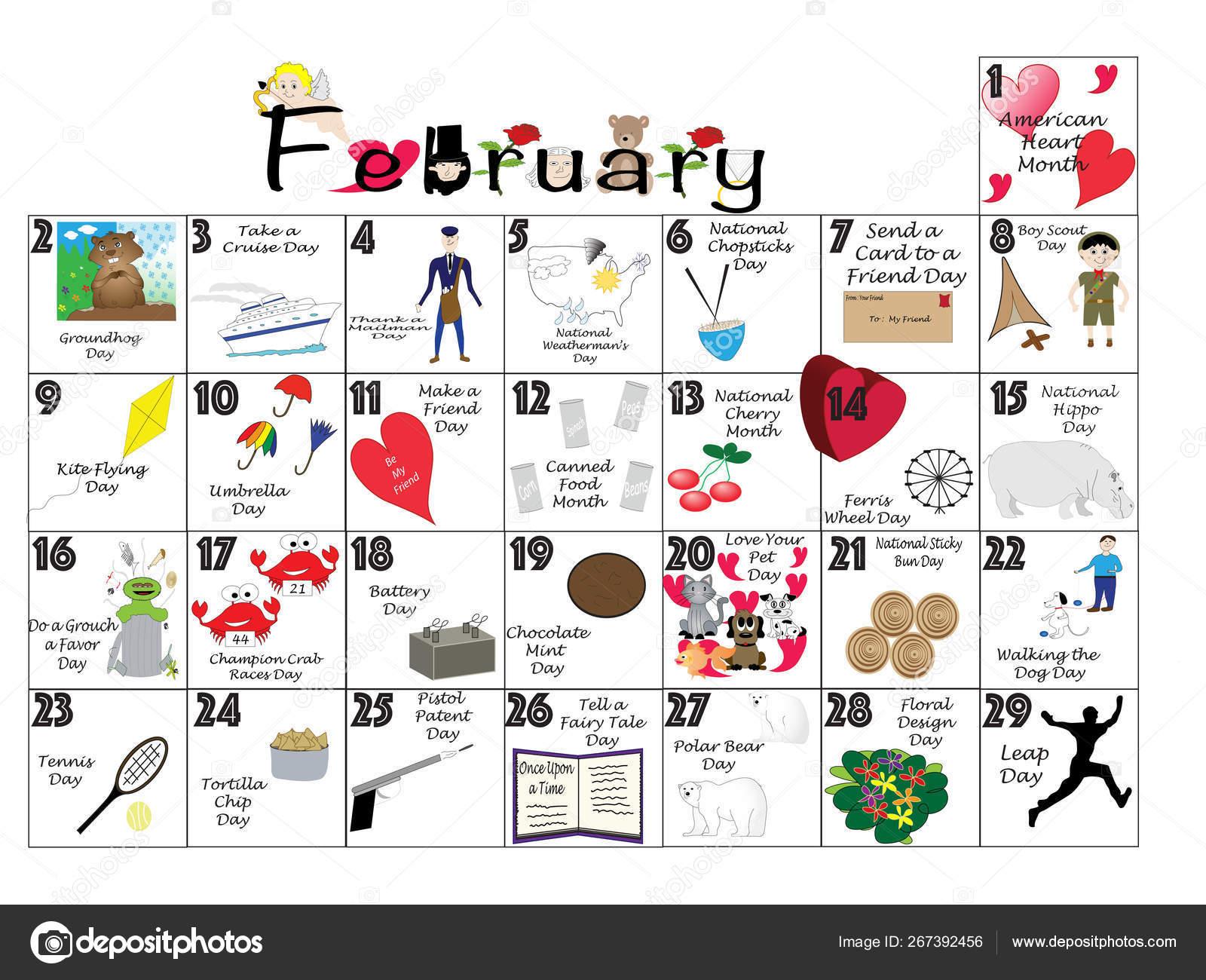 Calendar Clip Art February 2020 February 2020 Quirky Holidays and Unusual Celebrations Calendar