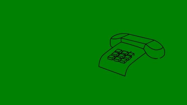 Animovaná Doka ze starožitných telefonů znázorněné na zelené obrazovce s prostorem pro kopírování pro použití služby IAS zástupný symbol pro kontaktní informace.