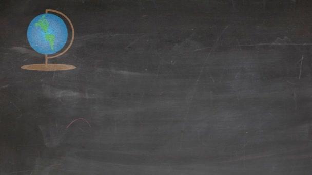 Zpět do školy animovaná ilustrace s potřebami základní školy na tabuli.