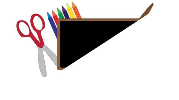 Zpět do školy animovaná ilustrace s potřebami základních škol na bílém.