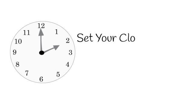 Ilustrované hodiny se zprávou se vrátí na konec letního času na bílém.